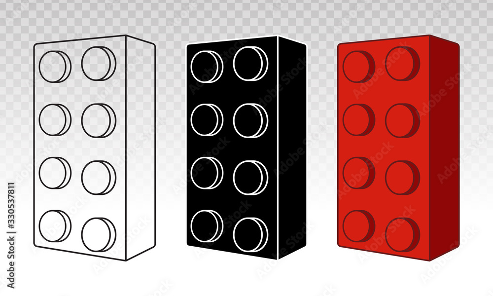 Fototapeta Lego brick block or piece line art vector icon for toy mobile app and websites