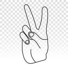 Two Finger Gestures Sign Icon ...