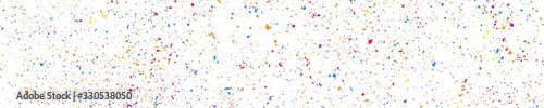 Fototapeta Abstract explosion of confetti. Colorful grainy texture isolated on white. Panoramic background. Colored stains and blots. Wide horizontal long banner for site. Illustration, EPS 10.   obraz na płótnie