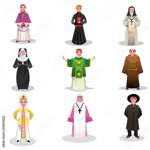 Set of catholic priests, monks and nuns vector illustration Fototapete