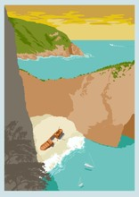 Travel Poster Vectors Illustrations With Vintage Style From Greek, Zakynthos Island In The Ionian Sea