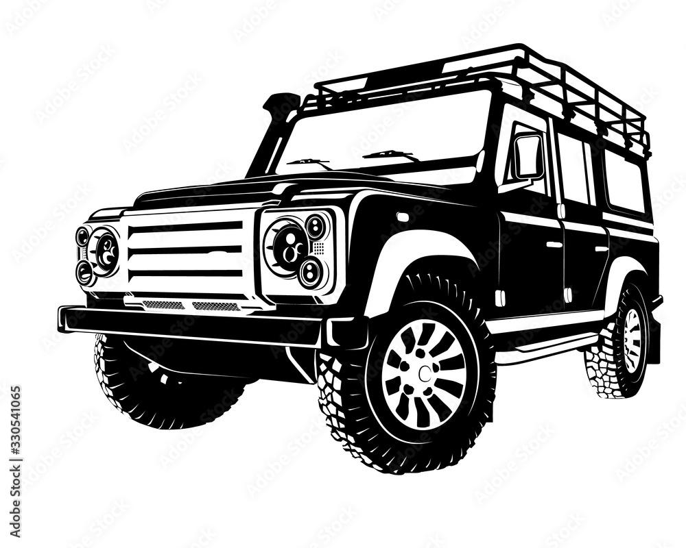 Fotografie, Obraz Modern offroad car, isolated silhouette vector illustration