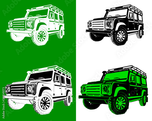 Photo Off road silhouettes with different colors and shapes vector illustration
