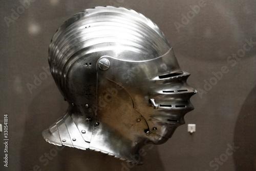 Medieval armor iron helmet detail Canvas Print