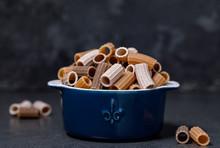 Tri-color Pasta In A Ceramic Pot