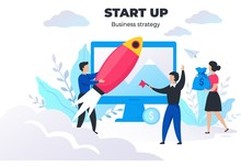 Start Up People Concept. Project Management And Business Strategy, Meeting And Communication. Vector Image Digital Marketing Successful Brand Creativity Startup