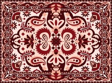 Arabesque Carpet. Indian And Persian Rug With Ethnic Geometric Motif Pattern, Vintage Texture For Interior Floor Textile. Vector Illustration Luxury Colourful Tribal Textile Border Design