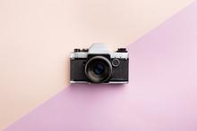 Vintage Camera On Color Backgr...