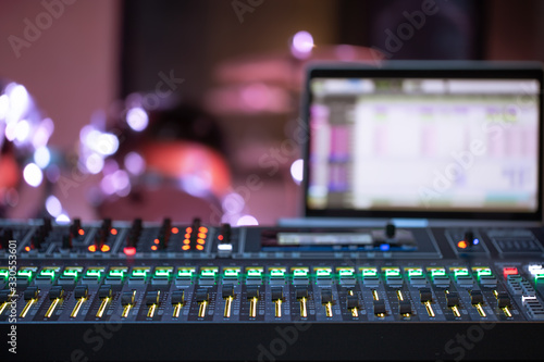 Obraz Digital mixer in a recording Studio , with a computer for recording music. The concept of creativity and show business. - fototapety do salonu