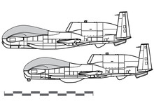 Northrop Grumman RQ-4B Global Hawk, MQ-4C Triton. Vector Drawing Of Strategic Reconnaissance Drone. Side View. Image For Illustration And Infographics.