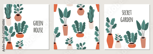 Cute set of home gardening backgrounds, trendy hand drawn plants in pots in simp Poster Mural XXL