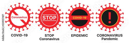 Obraz Coronavirus icon set. Global epidemic of COVID-19 infection, warning sign set. Coronavirus pandemic - fototapety do salonu