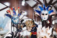 Venetian Mask Shop Market In Italy, Sun Light