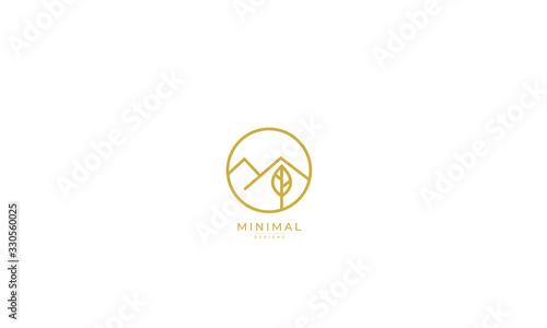 Fototapeta a line art icon logo of a mountain with a leaf obraz