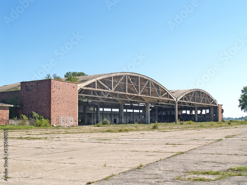Photo Aviation hangars of the old German airfield Noitif