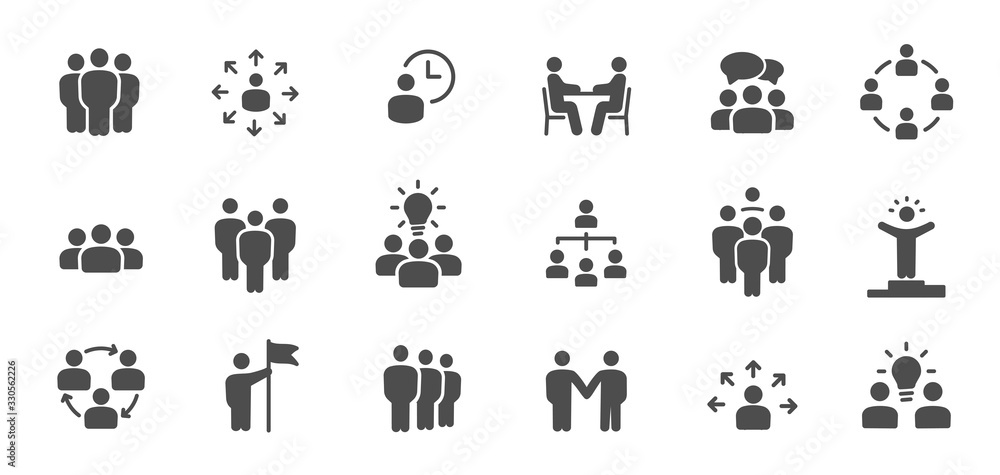 Fototapeta Team work icons. Meeting, group, team, people, conference, leader, discussion, collaboration, research and more. It is easy to edit - stock vector.
