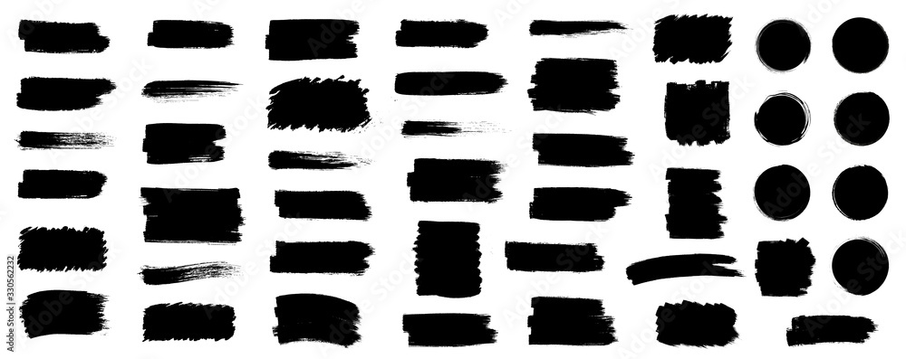 Fototapeta Black set paint, ink brush, brush strokes, brushes, lines, frames, box, grungy. Grungy brushes collection. Brush stroke paint boxes on white background - stock vector.