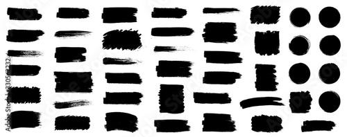 Fotografía Black set paint, ink brush, brush strokes, brushes, lines, frames, box, grungy