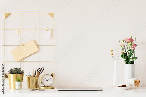 Fototapeta Mock up of woman workplace on light background. obraz