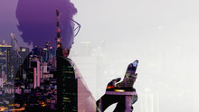 Double Exposure Of Asian Woman Using Smart Phone And Telecommunication Tower With 5G Cellular Network Antenna On Smart City Background