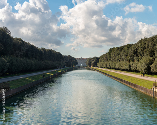 Vászonkép ITALY, CASERTA - OCT 19, 2019: The Royal Palace and gardens of Caserta (Palazzo Reale di Caserta), built in 18th century, former baroque residence of Bourbon kings in Campania