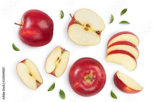 Red apple with half isolated on white background with clipping path and full depth of field Fototapeta