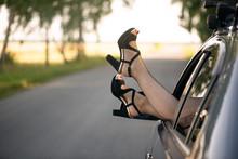 Woman Legs In High Heels Shoes...