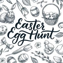 Easter Egg Hunt Calligraphy Lettering. Doodle Sketch Vector Illustration. Vintage Hand Drawn Holiday Design Elements