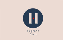 Red Dot H Letter Alphabet Logo Icon Design With Blue Circle For Company And Business