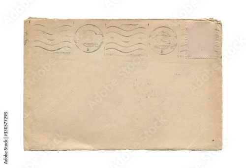 old aged paper envelope isolated on white