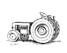 Tractor Isolated On White Back...