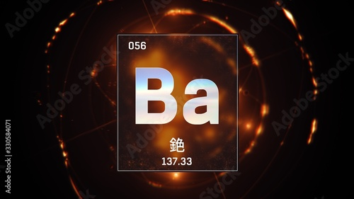 3D illustration of Barium as Element 56 of the Periodic Table Canvas Print