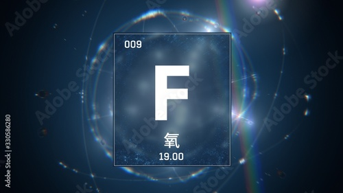 3D illustration of Fluorine as Element 9 of the Periodic Table. Blue illuminated atom design background orbiting electrons name, atomic weight element number in Chinese language
