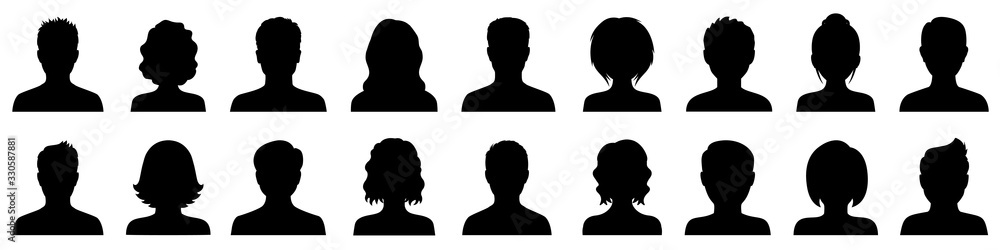 Fototapeta Set man and woman head icon silhouette. Male and female avatar profile sign, face silhouette logo – stock vector