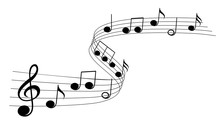 Music Notes Wave Isolated, Gro...