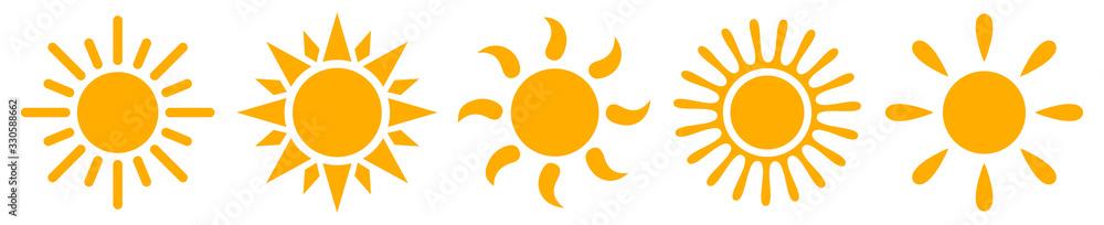 Fototapeta Set sun icons - stock vector
