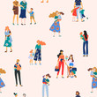 Happy Mothers Day. Vector seamless pattern with women and children