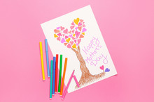 Greeting Card For Mother's Day On Color Background