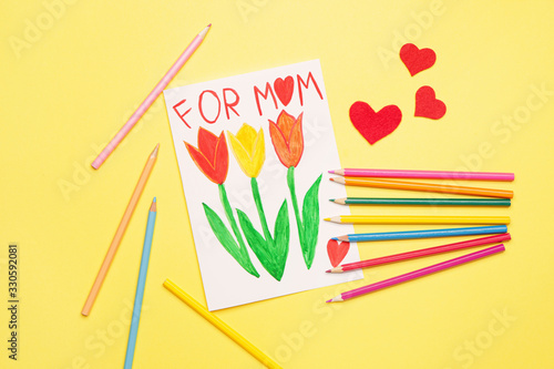 Obraz Greeting card for Mother's Day on color background - fototapety do salonu