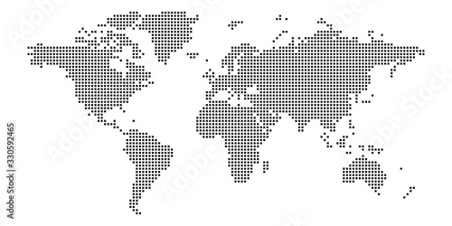 Fototapeta World map of squares. Simple flat vector illustration obraz
