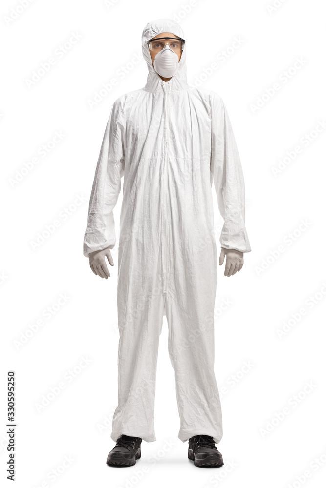 Fototapeta Man in a white hazmat suit and mask