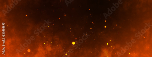 Fototapeta Dark fire space. Epic powerful horizonta flame background obraz