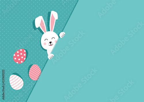 Foto Easter bunny and eggs greeting card