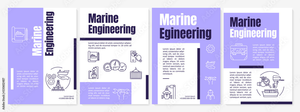 Fototapeta Marine engineering brochure template. Nautical industry job. Flyer, booklet, leaflet print, cover design with linear icons. Vector layouts for magazines, annual reports, advertising posters