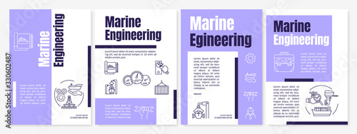 Obraz Marine engineering brochure template. Nautical industry job. Flyer, booklet, leaflet print, cover design with linear icons. Vector layouts for magazines, annual reports, advertising posters - fototapety do salonu