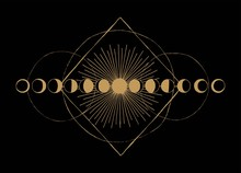 Moon Phases Geometric Occult Scheme Vintage Print.