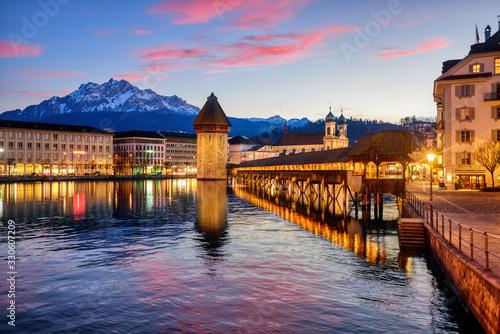 Obraz na płótnie Lucerne, Switzerland, on dramatic sunset