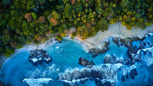 Magnificent Aerial Shot Of A Blue Tropic Lagoon With Crystal Clear Water Surrounded By Beach And Palm Trees.