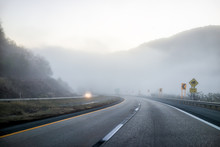 Foggy Mist Road Highway Drivin...
