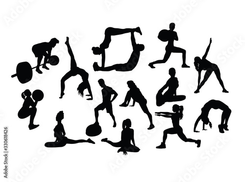 Fotografie, Obraz Yoga Sport Activity Silhouettes, art vector design